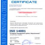 Сертификат ИСО 14001 на английском